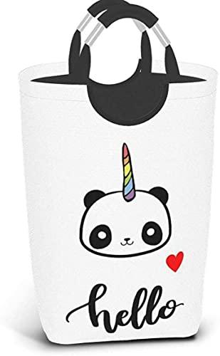 IUBBKI Hello Panda Cesto de lavandería de bambú Cesta Plegable con Asas Bolsa de Ropa Sucia Impermeable Papelera de Lavado Organizador de Almacenamiento de Juguetes para el hogar