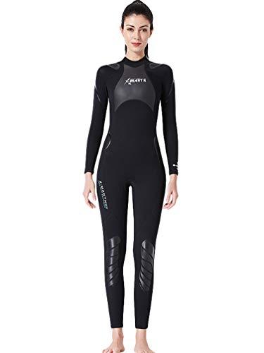 YuanDiann Homme Femme Hiver 3mm Neoprene Intégrale Combinaison De Plongée Élastique Chaud Manche Longue Une Pièce Tenue De Plongee sous Marine Surf Natation Snorkeling Vetement Femme Noir XL