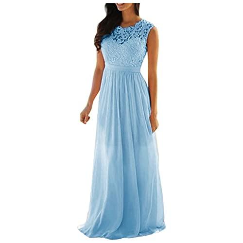 Robe de soirée élégante en mousseline de soie pour mariage, longue robe de demoiselle d'honneur - Robe longue vintage en dentelle - Robe longue de fête, bleu, XXXL