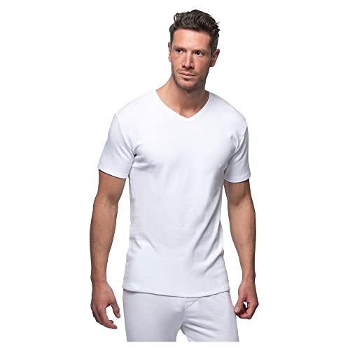 Abanderado Termal algodón Invierno Cuello uve Camiseta térmica, Blanco (Blanco 001), Medium (Tamaño del Fabricante:M/48) para Hombre