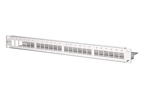 METZ Connect Keystone Modulträger 19'' 24 Port 1HE, Edelstahl, leer, geschirmt