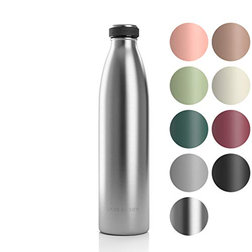 LARS NYSØM Edelstahl 1 Liter Trinkflasche   BPA-freie Isolierflasche 1000ml   Auslaufsichere Wasserflasche für Sport, Fahrrad, Hund, Baby, Kinder (1000ml, Stainless Steel)