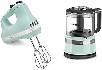 KitchenAid KHM512IC 5-Speed Ultra Power Hand Mixer, Ice Blue & KFC3516IC 3.5 Cup Food Chopper, Ice
