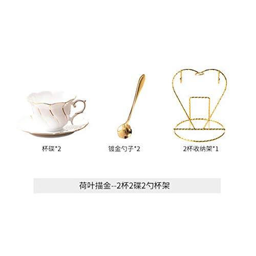 Tasse Männer und Frauen Luxus Europäischen kleinen Luxus Gold Seite 170ML Kaffeetasse Geschirr Keramik Hause Nachmittagstee Kaffeezubehör mit Getränkehalter 2 Tassen 2 Geschirr 2 Löffel 1 Regal 170ml