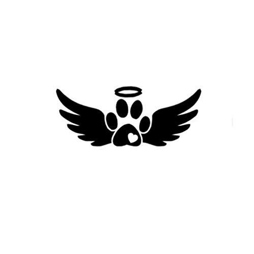 GenericBrands 4 Piezas Pegatina para Coche 15 cm * 6 cm alas de ángel Pata de Perro Vinilo Pegatina para Coche Negro