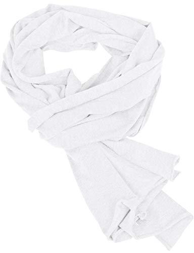 Franky Zano Herren Leichte Baumwoll-Schals Halstuch Schal Jersey Scarf (One Sitze, Weiß)