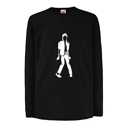 lepni.me Camiseta para Niño/Niña Me Encanta M J - Rey del Pop, 80s, 90s Músicamente Camisa, Ropa de Fiesta (12-13 Years Negro Blanco)