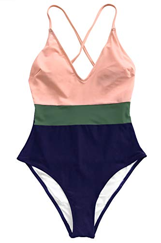 CUPSHE Women's Cross Block with Lining One-Piece Swimsuit Large