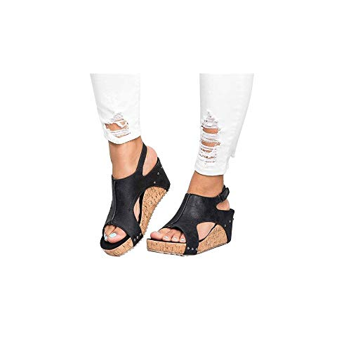 Damen Sandalen mit Keilabsatz und Plateausohle aus Kork, Frauen Sommer Strandsandalen Elegante Sandaletten Bequeme Schöne Sommersandalen Celucke