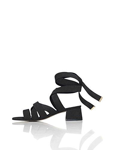 find. Sandalias de Tiras Atadas al Tobillo para Mujer, Negro (Black), 37 EU