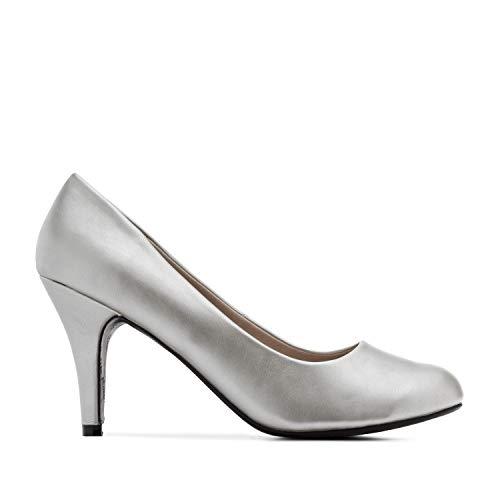 Andres Machado - Elegante Pumps aus silbernem Lederimitat für Damen und Mädchen mit 9,5 cm Absatz – High-Heels – AM422 – Größe EU 44