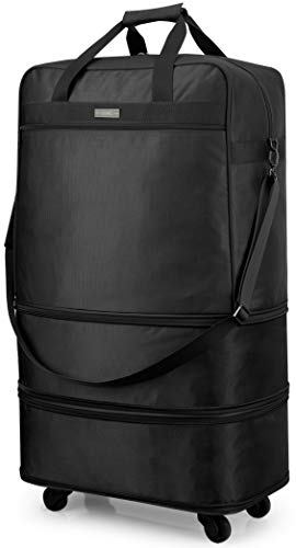 Hanke Expandable Foldable Luggage Suitcase Ripstop Rolling Travel Bag Lightweight Collapsible Luggage without Telescoping Handle