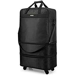 Hanke Expandable Foldable Luggage Suitcase Ripstop Rolling Travel Bag Lightweight Collapsible Luggage without Telescoping Handle, Black
