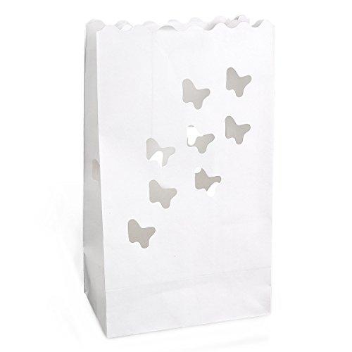 20 St. Schmetterling Motive Kerzentüte Lichttüte Luminarias Candlebag Laterne Garten Windlicht...