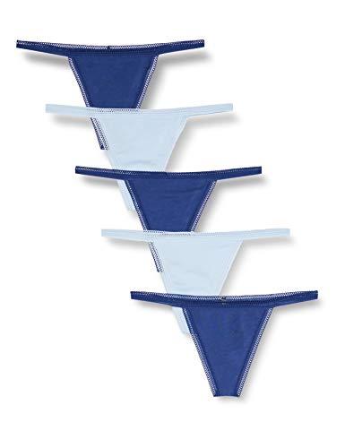 Amazon-Marke: Iris & Lilly Damen G-String mit Spitze, 5er-Pack, Mehrfarbig (Twilight Blue/Cashmere Blue), M, Label: M