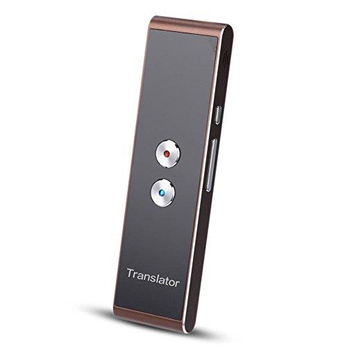 Smart vertaler spraakvertaler met spraakinvoer en spraakuitgang, simultanoverbrenging translator Bluetooth reisinzetter apparaat voor 34 talen draagbare oplaadbare Deluxe vertaler, koffie