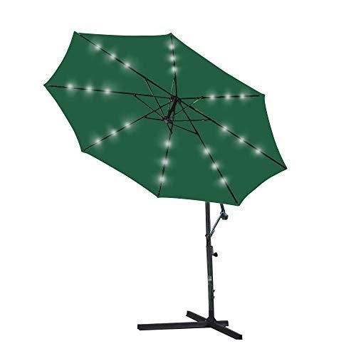 3m Green Garden Parasol Solar LED se Ilumina Parasol plátano voladizo Que cuelga del Paraguas con la manivela y el Mecanismo de inclinación de Balcón Patio BBGSFDC