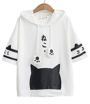 Women Girl Hoodie T-Shirt Japanese Cartoon Cat Harajuku Short Sleeve Tops Tees White