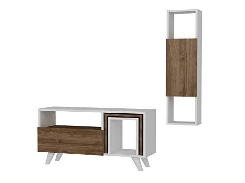 TV Board Lowboard Fernsehtisch FernsehHängeschrank Sideboard, Fernseh Hängeschrank Tisch für Wohnzimmer I Weiß Walnuss I Novella K24 I 90 x 29,5 x 51 cm