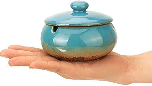 ZF Cenicero Creativo Retro de la Personalidad Oficina de Gran salón cenicero del cigarro de cerámica extintor de Humo con la Cubierta del hogar,Blue