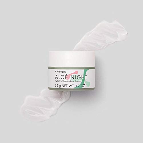 HelloBody ALOÉ NIGHT Hydrating Sleeping Face Cream (50 ml) – Vegane Nachtcreme – Gesichtscreme mit Pflaumenkernöl – Pflegende Feuchtigkeitscreme – Aloe Vera
