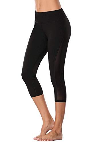 Anwell Leggings figurformend Capri Tummy Contro Leggings Laufhose Damen lang Thermo Sporthose 3/4 Schwarz XL