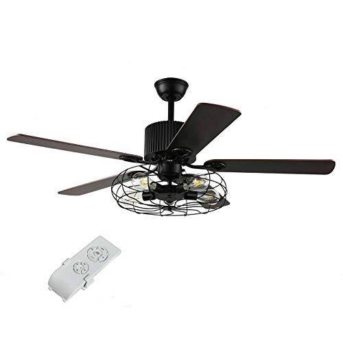 Fetcoi Lámpara de araña con ventilador y mando a distancia de 52 pulgadas, E27, 220 V, luz de ventilador, velocidad del viento ajustable, para comedor