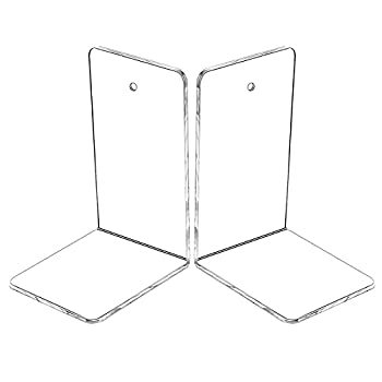 Clear Plastic Acrylic Bookends 2 PC Bookends for Shelves Organizer Bookshelf Heavy Duty Book Ends and Desktop Organizer Book Stoppers Decorative Bedroom Library Office School Supplies Stationery Gift