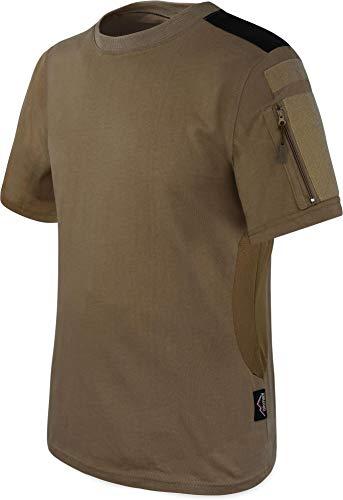 T-Shirt BDU Tactical Kurzarm Kampfshirt mit Klettflächen, Reißverschlusstaschen am Arm und seitlicher MESH-Einsatz - Combat Short Sleeve Farbe Khaki Größe L