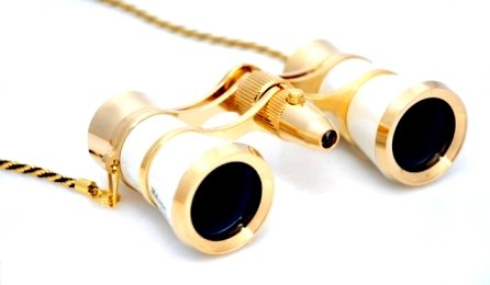 Finissimo Optics 3x25 White Opera Glasses with Chain Necklace and Red Reading LED Flashlight / Theater Binoculars / with Gold Trim