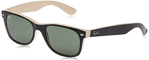 Ray-Ban RB2132 New Wayfarer Sonnenbrille, Mehrfarbig (Schwarz/Beige), 55 mm