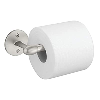 mDesign Modern Metal Toilet Tissue Paper Roll Holder and Dispenser for Bathroom Storage - Wall Mount, Holds and Dispenses One Roll, Mounting Hardware Included - Satin