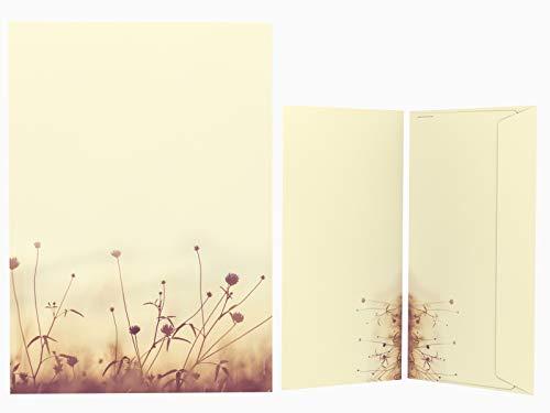 Briefpapier Set | Herbstwiese in der Sonne | 20 Blatt Herbstliches Motivpapier A4 | 20 Briefumschläge OHNE FENSTER im DIN LANG-Format