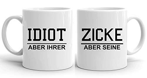 Idiot Zicke - Tassen Kaffeetassen 2er Set Hochzeitsgeschenk Kaffeebecher Set, Hochzeit Valentinstag Pärchen Ehepaar Freunde, Farbe:Weiß