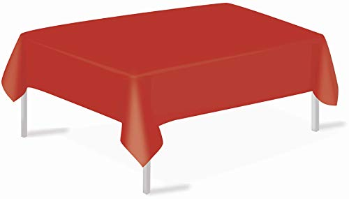 Red Plastic Tablecloths Christmas Disposable Table Covers 3 Pack Party Tablecovers 54 x 108 Inches Vinyl Table Cloths for Rectangle Tables up to 8 ft and Birthday Wedding Xmas New Year BBQ Banquet