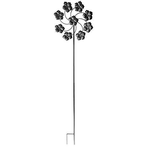 Ideen mit Herz Molinillo de viento de metal, para el jardín, color negro, carillón de viento, decoración de jardín, ideal para pintar y decorar (Diseño 4, diámetro de 36 cm, altura de 132 cm)