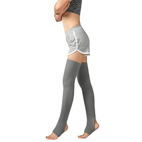 ODJOY-FAN 1 Paar Frau Schenkel Gestrickt Bein Wärmer Yoga Socken Stiefel Abdeckung Damen Halterlose Strümpfe Slouch Socken Wolle Warm Socke 75cm(Grau,1 Paar)
