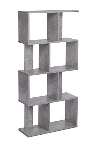 ts-ideen Design Regal Hochregal Standregal Bücherregal CD-Regal Aufbewahrung Beton Grau 130 x 60 cm