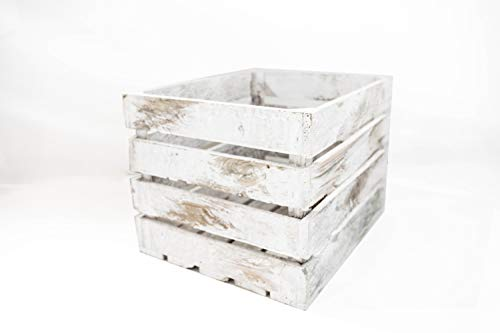Caja de Madera Blanca Vintage Sam, Pino, 1 Unidad, Caja Almacenamiento, Caja Grande, Blanco Vintage, 50x40x30CM. Incluye Imán Personalizable de Regalo