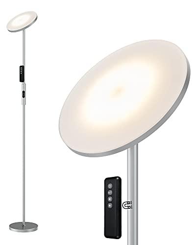 Anten 20W Lámpara de Pie Regulable con Mando, LED Lámparas de Pie Gris para Salon/Dormitorios Modernas Nordicas