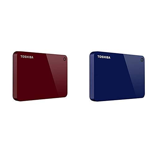 Toshiba Canvio Advance 1TB Portable External Hard Drive USB 3.0, Red (HDTC910XR3AA) & Toshiba Canvio Advance 1TB Portable External Hard Drive USB 3.0, Blue (HDTC910XL3AA)