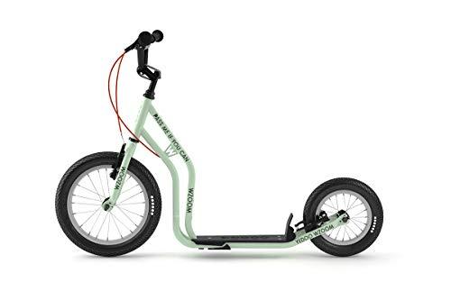 Yedoo Wzoom New Kinder Tretroller - für Kinder ab 6 Jahre, ab 120 cm Körperhöhe, mit Luftreifen 16/12 - für Mädchen und Jungen, Höhenverstellbar mit Ständer und Reflexelementen, Mint
