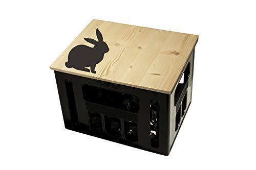 ultiMade Bierkastensitz Holz Sitzauflage für Bierkiste Geschenkidee Geschenk für Männer Biergeschenk Hocker Holz Hipster mit Motiv Tiere Hase
