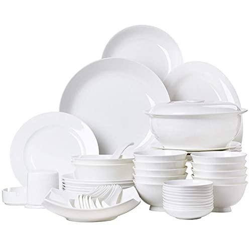 DGHJK Vajillas, Platos/tazones/ollas de cerámica de cerámica |Juego de vajilla de 56 Piezas, Blanco, vajilla para microondas, Apto para microondas, para Fiestas Familiares, Cocina, Restaurante