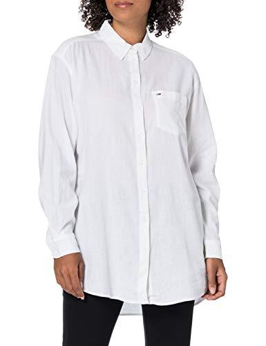 Tommy Jeans Damen TJW Relaxed Long Shirt Hemd, weiß, Small