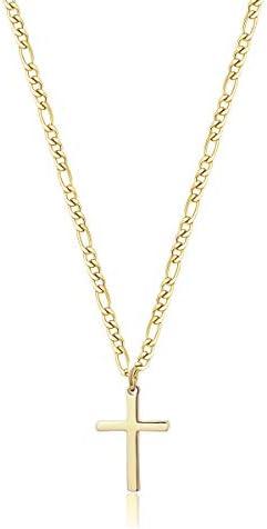 TASBERN Cross Necklace for Men 14K Gold Filled Stainless Steel Polished Plain Cross Pendant product image