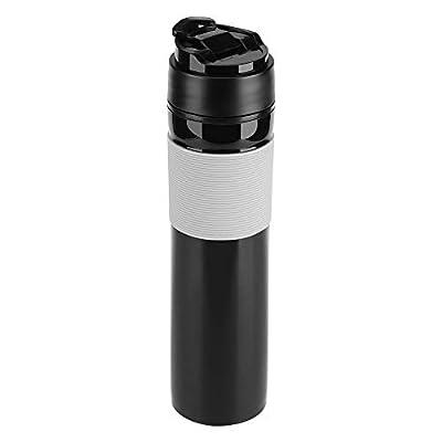 Portable Travel 12oz Coffee Press Mug,350mlFrench Press Coffee Press Mug Tea and Coffee Maker Bottle Coffee Brewer Travel Tumbler Water Cup(Black)