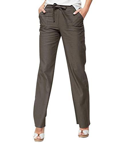 Cheer Leinen-Hose luftig leichte Damen Sommer-Hose mit Bindegürtel Kurzgröße Freizeit-Hose Hose Khaki, Größe:36 (18 Kurzgröße)