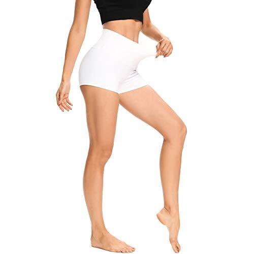 "LXNMGO Women's 2"" High Waist Yoga Shorts Tummy Control Biker Running Workout Compression Shorts for Women White, S"