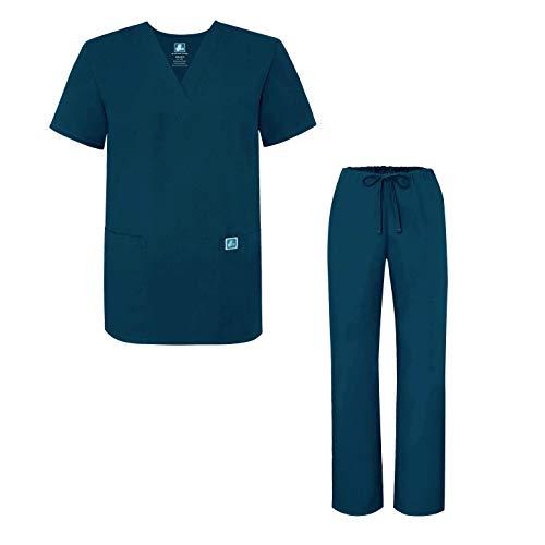 Adar Universal Divise sanitarie Unisex - Divise ospedaliere con Cordoncino - 701 - Caribbean Blue - XL